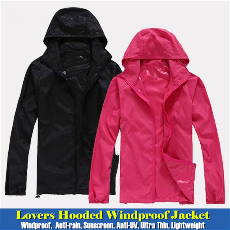 100pcs Men&Women Lovers Hooded Windproof Jacket Tops Quick-dry Fitness Anti-rain Sunscreen Anti-UV Thin Lightweight Sweatshirts