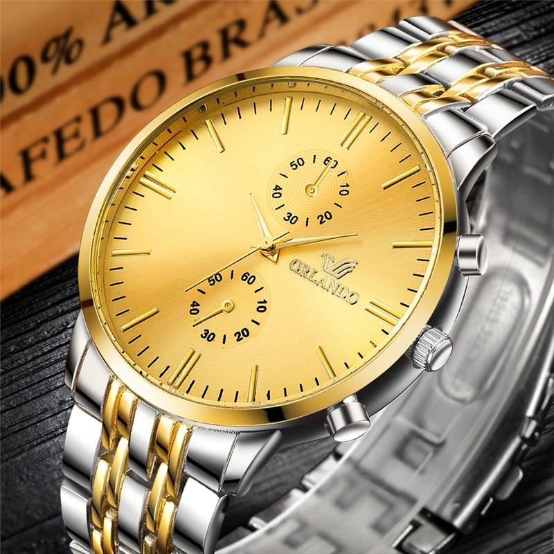 ORLANDO Fashion Men Watches New Quartz Watch Men's Silver Gold Plated Stainless Steel Wristwatch Masculino Relogio Drop Shipping
