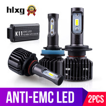 HLXG 2X 6500K H7 Led H4 H11 H8 HB3 H1 9006 CSP Car Headlight Bulbs Anti-EMC Radio FM No Flicker Automobiles Auto 12V 24V 16000LM(China)