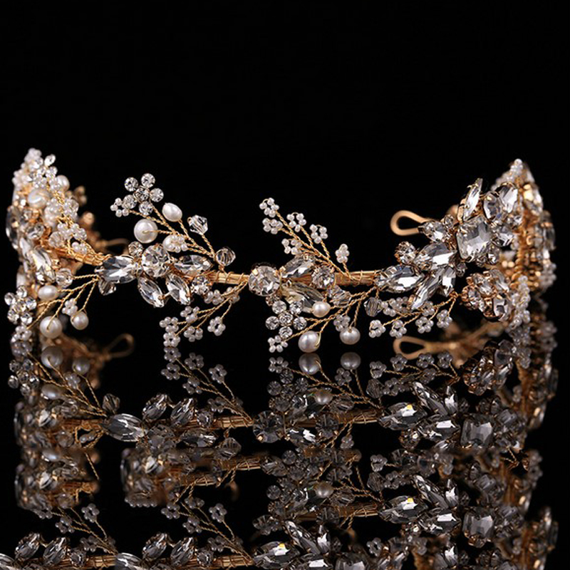 все цены на Sparkly Handmade Rhinestone Bridal Headpieces Wedding Crystal Hair Accessories Jewelry Pearl Bridesmaid Crown Tiara