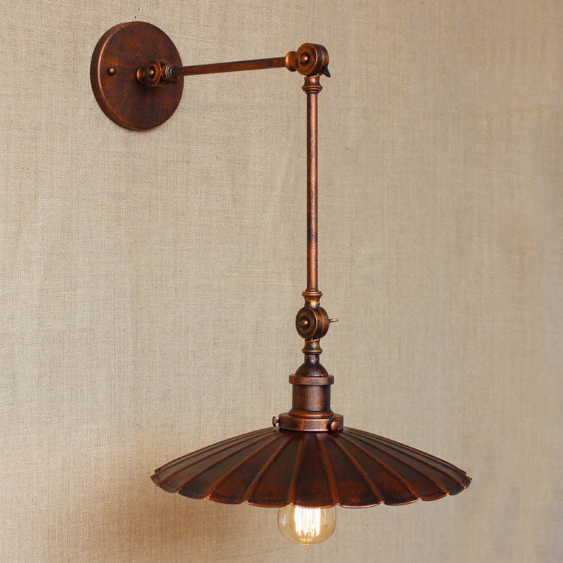 Industrial Portuguese Style Antique Rust Wall Lamp Swing Arm Wall Lighting For Workroom Bathroom