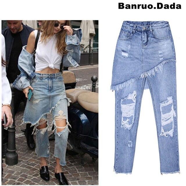 f262dfa2166 Gigi HADID модные рваные джинсы бойфренда для женщин уличный стиль  отверстие высокой талии джинсы летние джинсы