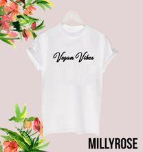 VEGAN VIBES VEGGIE FOOD FUNNY LADIES MAN WOMENS  WHITE BLACK T SHIRT TEE Fashion Design Free Shipping Mens Shirts