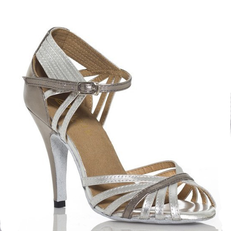 Silver Leather Ballroom Dance Shoes