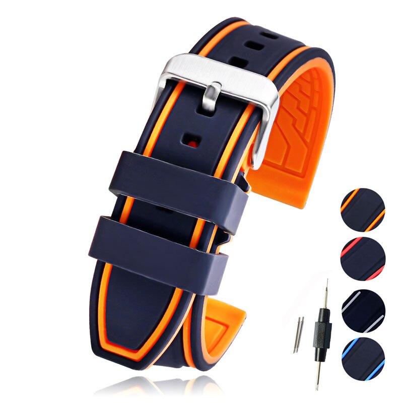 Molle Del Silicone Watch Band 20mm 22mm 24mm 26mm Orologio di Gomma Cinturino Cinturino Impermeabile