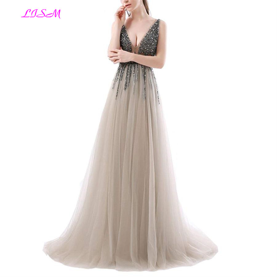 Luxury Beaded <font><b>Evening</b></font> <font><b>Dress</b></font> <font><b>Sexy</b></font> Deep V-neck Sequins Tulle Prom <font><b>Dress</b></font> Long Sleeveless Champagne Formal Party Gown robe de soiree image