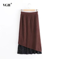 VGH Fake Two Piece Lace Patchwork Women Knitted Skirt Spring Elastic High Waist Split Slim Female