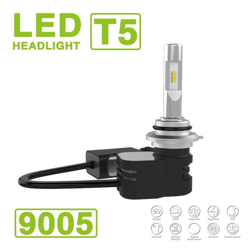 2017 9005 HB3 Turbine T5 LED-koplamp Koplampset 60W 9600LM CSP Y19 LED-chips Alles-in-één Pure White 6000K auto 30W 4800lm