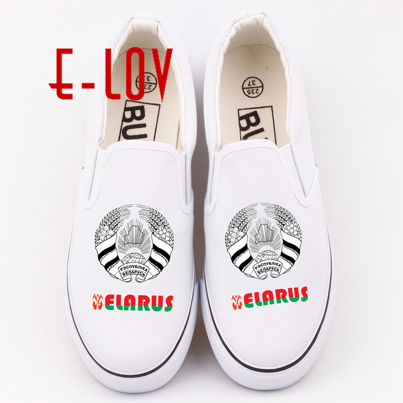 E-LOV Hip Hop Casual Canvas Shoes Belarus National Emblem Printing Casual Walking Shoes Unisex Belorussians Shoe e lov women casual walking shoes graffiti aries horoscope canvas shoe low top flat oxford shoes for couples lovers