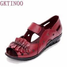 Été Femmes Chaussures En Cuir Véritable Doux Semelle Chaussures Plates Découpe Femme Plat Sandales À Bout Ouvert Occasionnels Confortable Femmes Sandales