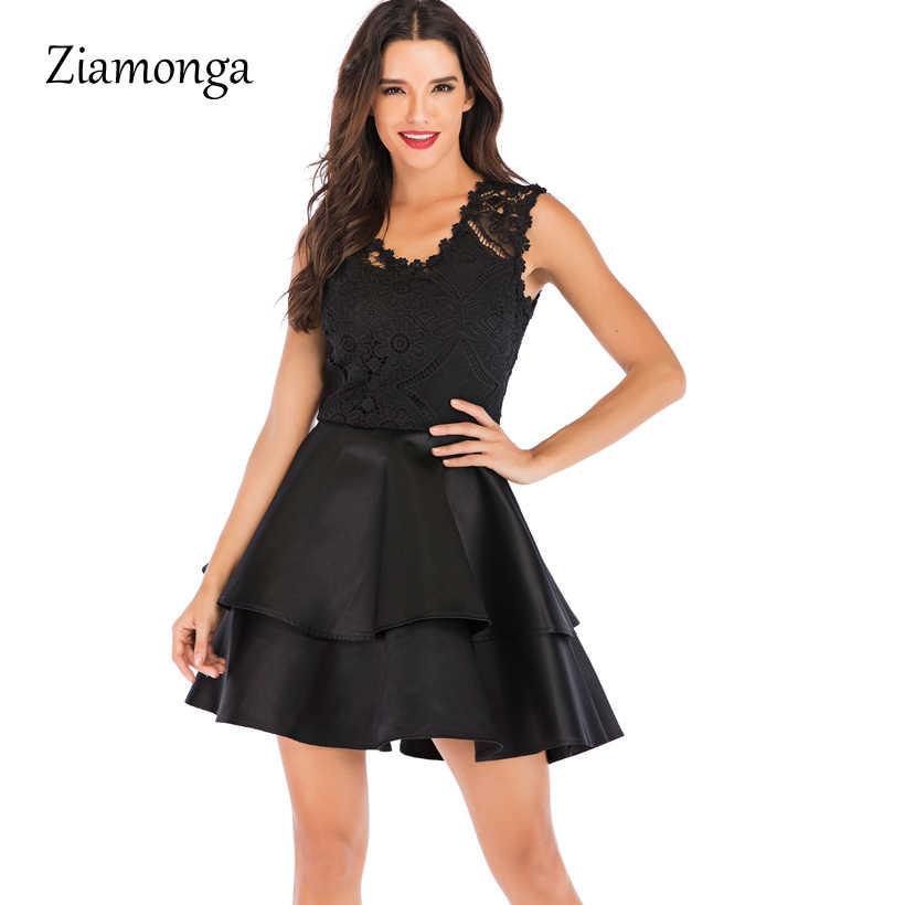 9082031990 Ziamonga 2019 New Autumn Summer Dress Women Sexy Backless Lace Dress  Elegant Casual Sleeveless Ruffles Ball Gown Party Dresses