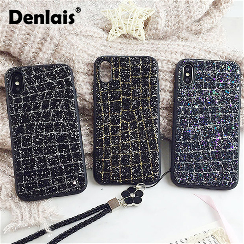 Luxury Bling Glitter Shining Sequins Case For iPhone 7 Case 3D Diamond Rhinestone Phone Case For iphone 6 6s 8 6/7/8 plus X Capa