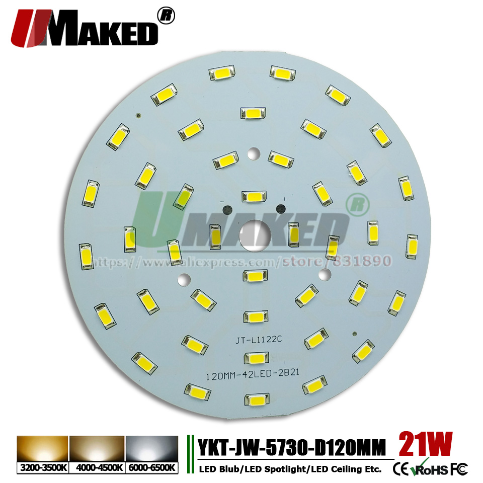UMAKED 21W 120mm SMD 5730 Light PCB Bulb Spotlight Downlight LED Source Install led Chips Aluminum Lamp plate Warm/Natural/White 21w 3500k 2500lm 322 smd 3528 led warm white light ceiling lamp w magnet silver ac 110 250v