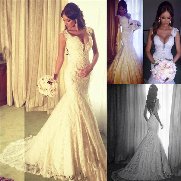 Mermaid Wedding Dresses Liverpool : Sexy mermaid v neck wedding dress sparkly lace bride