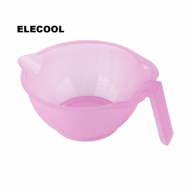 ELECOOL 300 Ml Plastic Coloring DIY Coloring Hair Color Dye Bowl Hair Paint Mixing Bowls Salon Styling Tool With Straight Handle