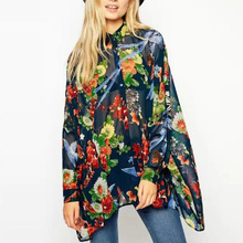 Nice Spring Women Kimono Blouse Elegant Batwing Blouse Long Sleeve Lapel Shirt Shirt Loose Long Shirt Floral Print Tops AH81