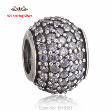 Authentic 925 Sterling Silver Pave Ball Charm Beads With Fancy Lavender CZ For Women Fits Pandora Style DIY Bracelets BE143