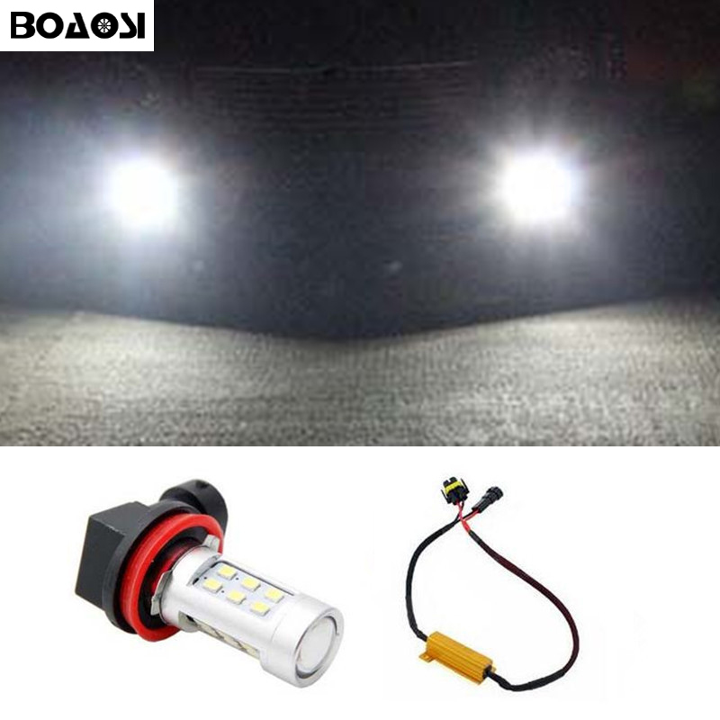 BOAOSI 1x Car Accessories H11 H8 LED 2835SMD Projector Fog Light DRL No Error For Skoda Octavia 2010-2014 2x 9006 hb4 led projector fog light drl 12w no error for volkswagen golf 6 mk6 2011 2012 scirocco 08 on t5 transporter 2003 2016