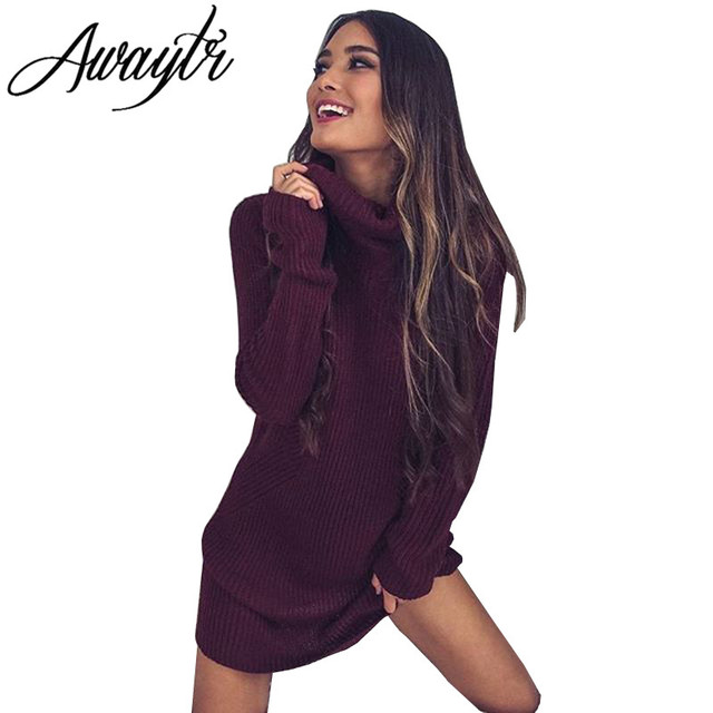 Awaytr New 2017 Women Autumn Sweater Knitted Long Pullovers Casual Scarf Collar Long Sleeve Dress Sweaters for Autumn Winter