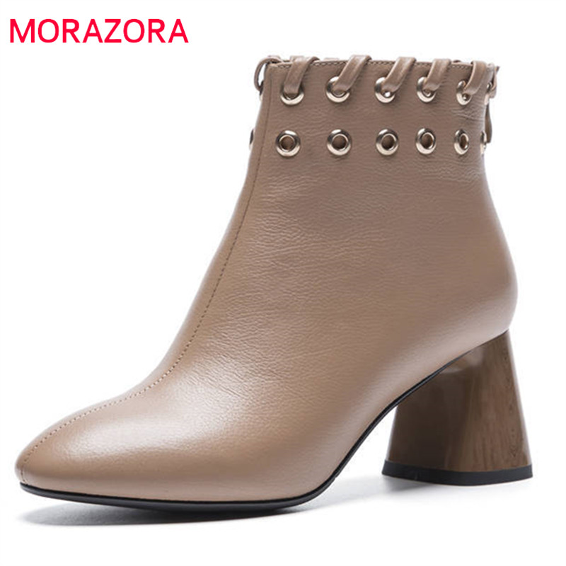 MORAZORA 2018 new arrive spring autumn women boots genuine leather shoes simple zipper solid color ankle boots high heels shoes morazora 2018 new genuine leather ankle boots for women high heels wedges boots female platform spring autumn boots women shoes