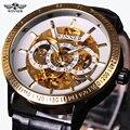 Relógio Vencedor Homens Business Series Case Transparente Mens Relógios Top Marca de Luxo Relógio Automático do Relógio de Pulso Relógio Esqueleto Masculino