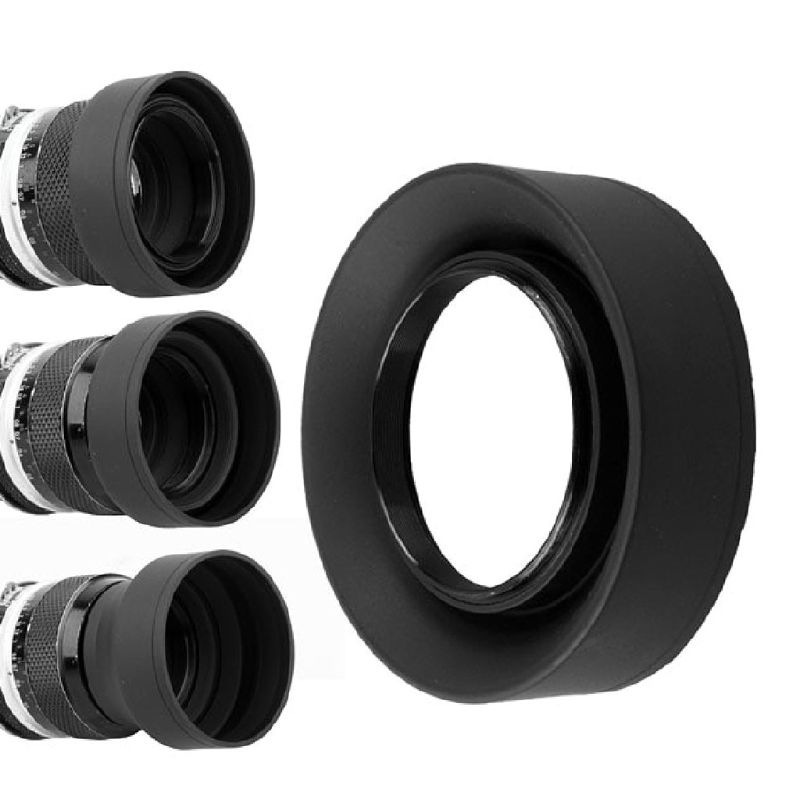 <font><b>Lens</b></font> <font><b>Hood</b></font> Rubber Collapsible Wide-Angle 3 Stage 49/52/55/<font><b>58</b></font>/62/67/72/77mm Camera Accessories Replacement Part image