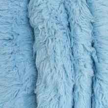 Gök mavisi tüylü yün kürk kabarık bebek Posing kumaş kürk Nebworn kapak battaniye doğal kıvırcık yün zemin fasulye torbası battaniye sahne