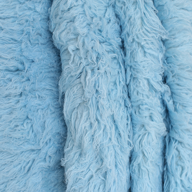 Sky Blue Shaggy Wool Fur Fluffy Baby Posing Fabric Fur Nebworn Cover Blanket Natural Curly Wool Backdrop Bean Bag Blanket Props