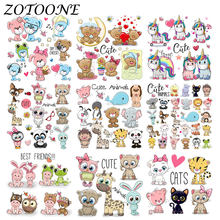 ZOTOONE Cute Animal Combination Unicorn Iron on Patches for Clothing Thermo Stickers Heart Transfers Patch Applique Kid Clothes(China)