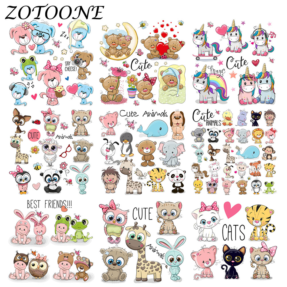 ZOTOONE Cute Animal Combination Unicorn <font><b>Iron</b></font> <font><b>on</b></font> <font><b>Patches</b></font> for Clothing Thermo Stickers Heart Transfers <font><b>Patch</b></font> Applique <font><b>Kid</b></font> Clothes image