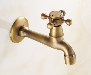 купить Brass Antique bibcock Lengthened tap for washing machine mop pool wall mounted faucet, Single cold kitchen/bathtub water tap по цене 1195.27 рублей