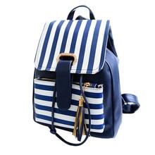 2017 элегантное школьные сумки рюкзак для девочек подростков милый ПУ кожа полосатый печать женщины рюкзак сумка Женский эсколар mochilas