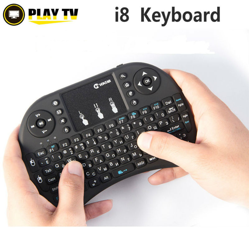 все цены на VONTAR I8 Mini Wireless Gaming Keyboard Russian English Hebrew Spanish 2.4G Touched Fly Mouse For Smart TV box Laptop Tablet PC