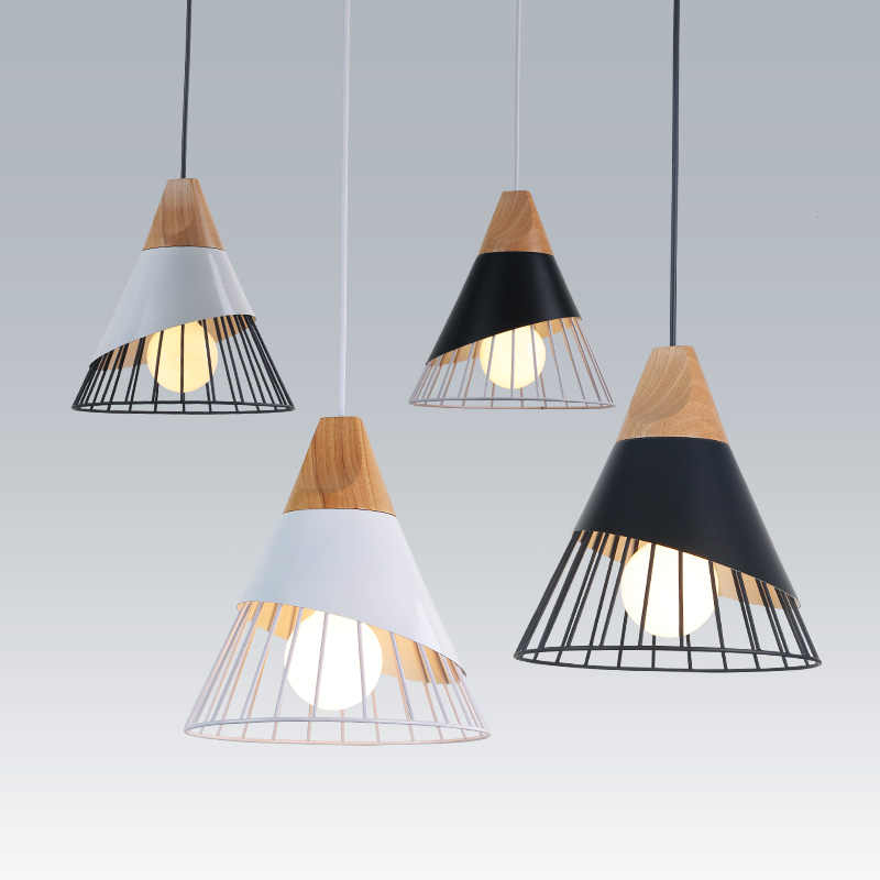 Slope Badminton Pendant Lights Wood Restaurant Bar Coffee Hanging Lamp Dining Room LED Fixture Led Pendant Home Decor  Lighting