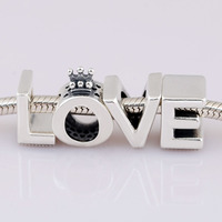 New 925 Sterling Silver Bead Charm Smooth LOVE Alphabet Letter BeadS Fit Pandora Bracelet Bangle DIY Jewelry