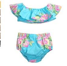2Pcs Summer Infant Baby Girl Off Shoulder Floral Ruffle Tops Romper+ Shorts Sunsuit Outfits Set