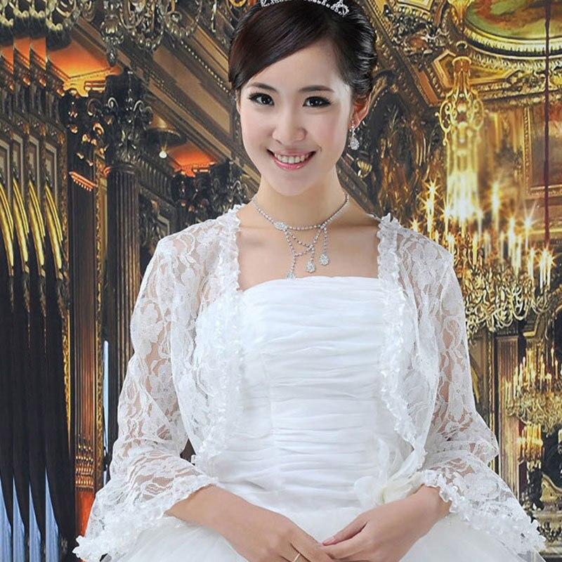 Fashion Long Sleeve Lace Bridal Jackets Shawl Wraps Bolero White Jacket Wedding Shawls And In Wrap From Weddings