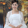 Moda de Manga Larga de Las Chaquetas Del Cordón Nupcial Mantón Nupcial Wraps Bolero chaqueta nupcial de la boda de encaje blanco chales y abrigos