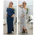 2017 Sexy Summer Women Boho Maxi Dress Short Sleeve Side Slit Loose Evening Party Long Beach Dress with Pocket Vestidos LS0023