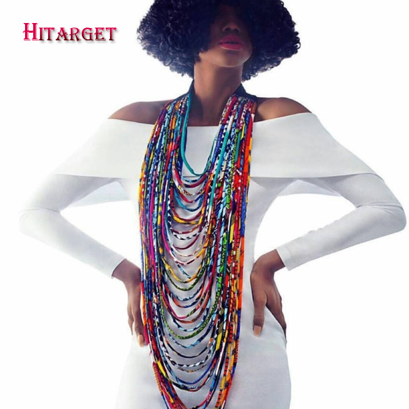 2018 African Wax Print Choker Necklaces for Women Body Jewelry African Cotton Multi-layer Rope Necklace Ankara Jewelry WYB236