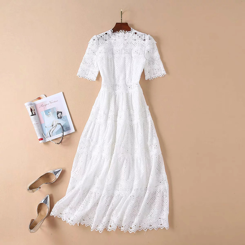 LD LINDA DELLA 2019 New Summer Runway Long Dress Women's Short Sleeve Solid Floral Hollow out Embroidered Mid Calf Elegant Dress