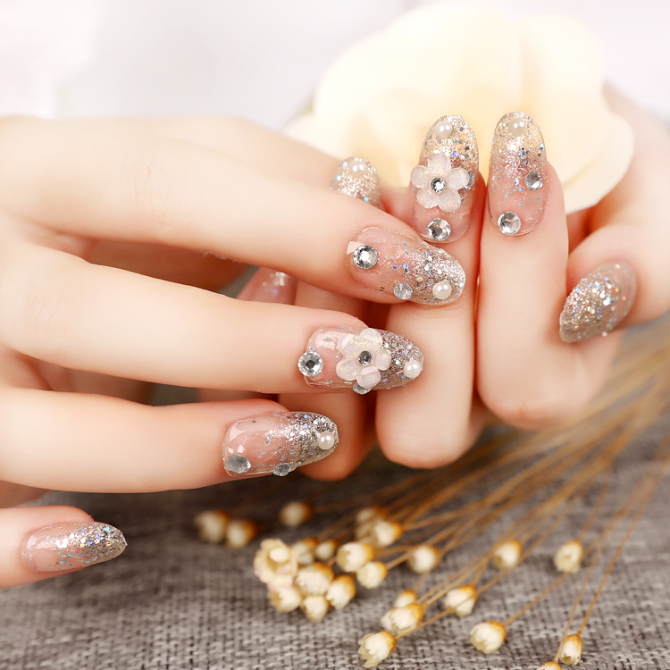 Beautiful bride cost effective full diamond pearl fake nails Satay ...