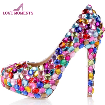 Red Pink Blue Multi Color Sparkly Crystal Wedding Dress Shoes Womens High Heel Fashion Diamond Pumps for Evening Party Prom
