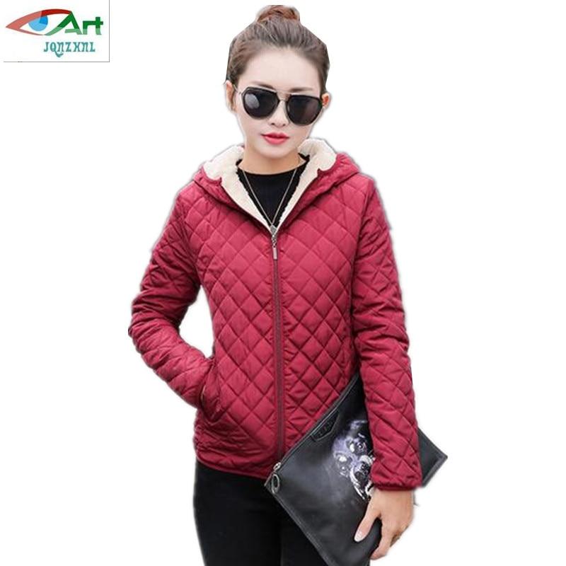Hooded Fleece Women Winter Jacket 2017 New Arrival Casual Warm Long Sleeve Plus Size Ladies Cotton-Padded Outerwear AS281JQNZHNL