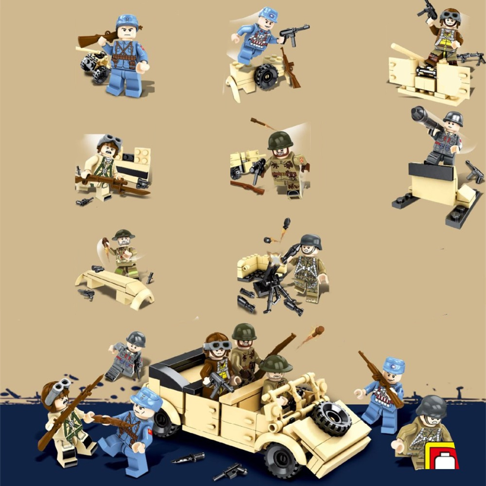 8pcs World War 2 SWAT Military Weapon Soldier Army Gun Vehicle DIY Special Forces Model Building Blocks Figures Boys Toys Gifts цена