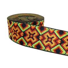 ZERZEEMOOY 2 5CM 10 YARD Woven Jacquard Ribbon Trims Geometric Pattern For Curtain And Clothing Accessory