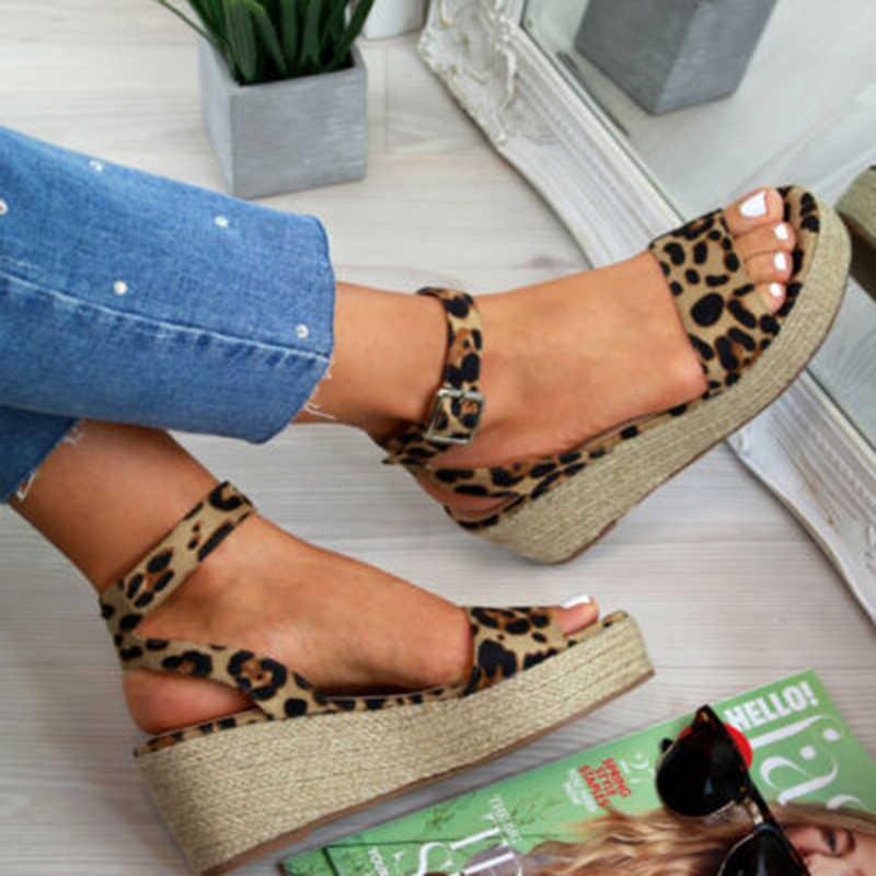 Mùa Hè Nền Tảng Giày Sandal 2019 Thời Trang Nữ Sandal Giày Đế Xuồng Cổ Người Phụ Nữ Peep Toe Đen Nền Tảng Dép Kiểu Casual