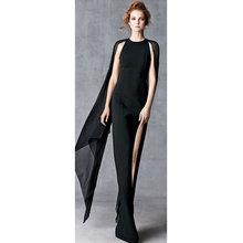wholesale 2016 latest long section of black nude color beige gauze bandage dress Turtleneck Full Floor-Length Dress + suit(China)