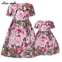 Mitun Mother Daughter Dresses Girls Flower Family Look Matching Clothes 2017 Summer Women Princess Dress Mom