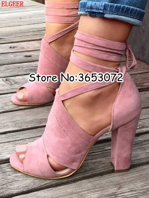 Suede Peep Toe Lace Up Block Heels Sandals Gladiator Tie Up Casual Lady High  Heels Shoes Rome Style Cut-outs Woman High Heels e2b26a578d6a